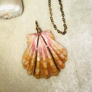 Sunrise Shell Pendant and 14K gold filled chain
